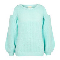 Girls mint green knit cold shoulder sweater
