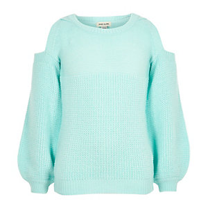 Girls mint green knit cold shoulder sweater