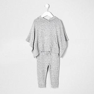 Ensemble poncho et pantalon de jogging gris pour mini fille