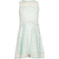 Girls light green blocked mesh prom dress