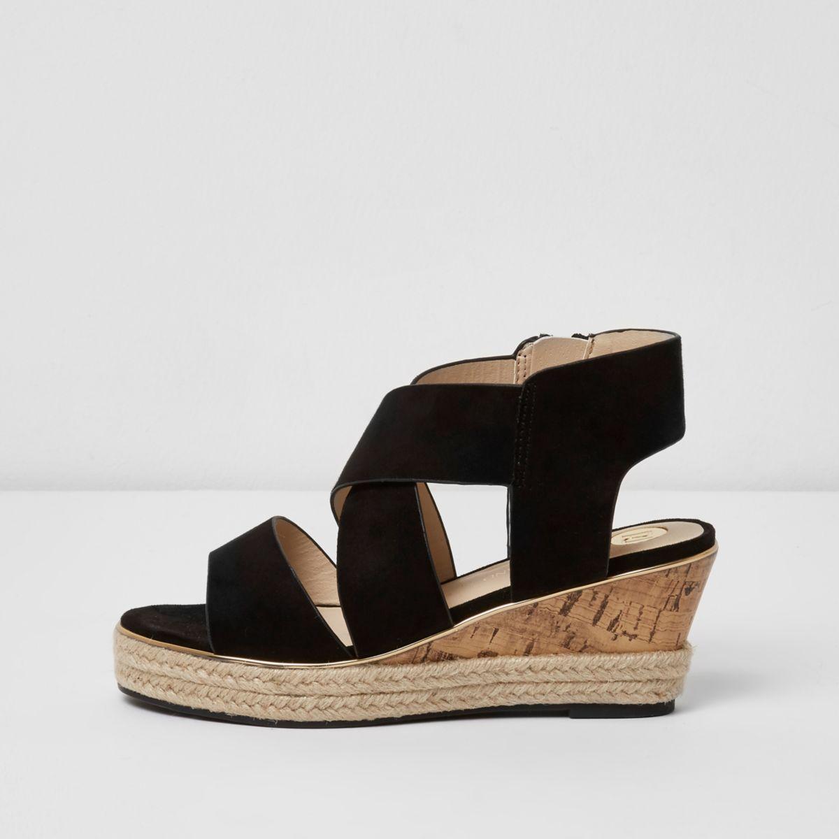 Girls black chunky strap wedges