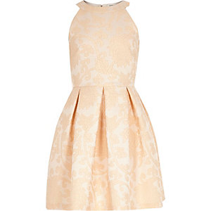 Girls orange floral jacquard prom dress