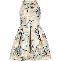 Gold floral print jacquard dress