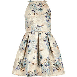 Girls gold floral print jacquard dress