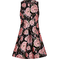 Girls black floral jacquard dress