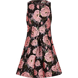 Girls black floral jacquard dress