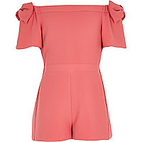 Girls coral bow bardot playsuit
