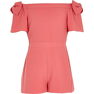 Girls coral bow bardot romper