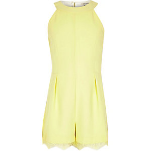 Girls yellow lace hem playsuit