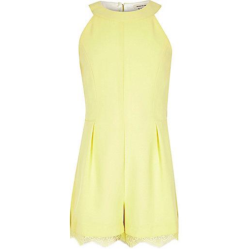 Girls yellow lace hem playsuit
