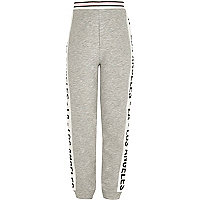 Girls grey LA print joggers