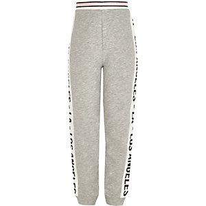 Pantalon de jogging imprimé LA gris pour fille