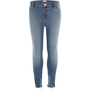 Girls blue twisted hem Molly jeggings