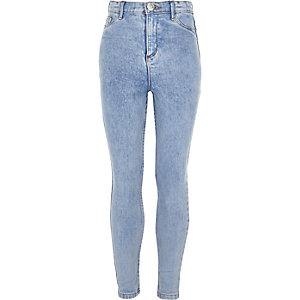 Girls blue wash sateen Molly jeggings