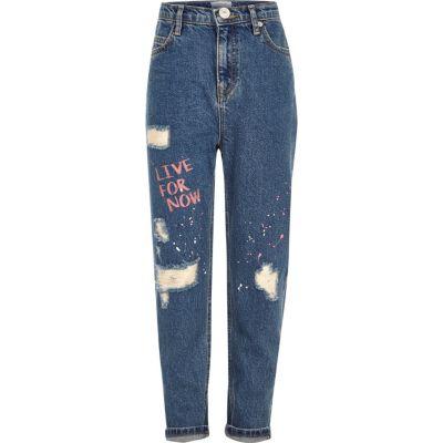 Blauwe ripped girlfriend-fit jeans met verfspetters