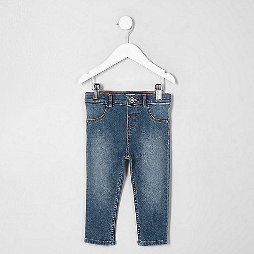 Mini girls blue faded Molly skinny jeans