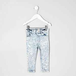 Mini girls blue paint splatter Amelie jeans