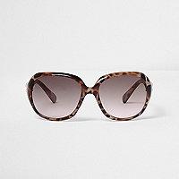 Girls brown animal print oversized sunglasses
