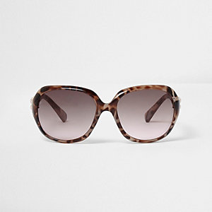 Girls brown animal print oversized sunglasses