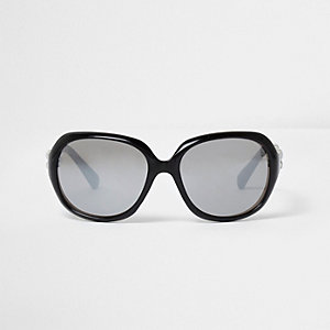 Girls black oversized silver lens sunglasses