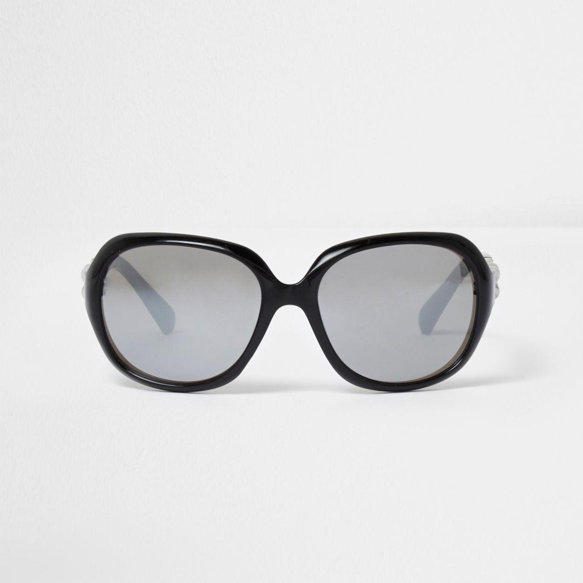 Girls black oversized silver lens sunglasses