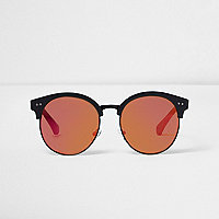 Girls black retro amber lens sunglasses