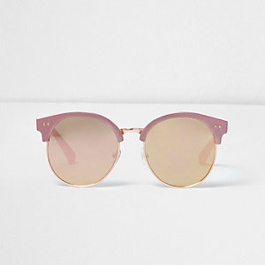 Girls pink metallic retro sunglasses