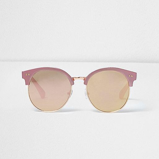 Girls pink metallic retro sunglasses