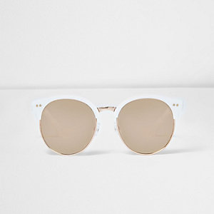 Girls white metallic retro sunglasses