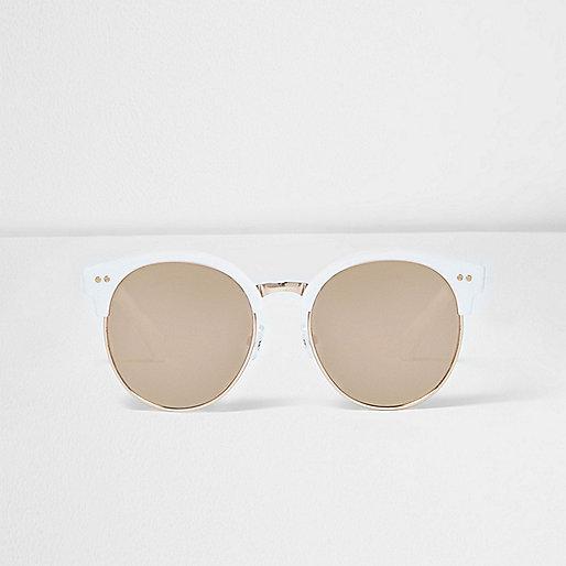 Girls white metallic retro sunglasses