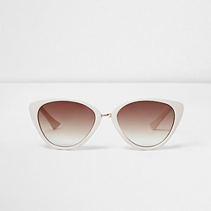 Girls white tortoiseshell cat eye sunglasses