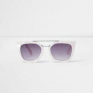 Wit cat-eye-zonnebril met parelmoerglans voor meisjes