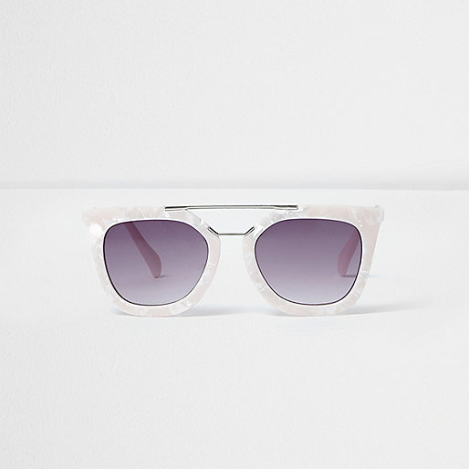 Girls white pearlescent cat eye sunglasses