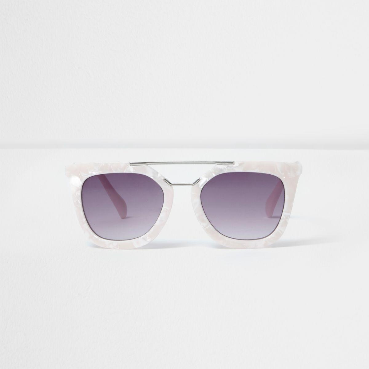 Girls white pearlescent cat eye sunglasses