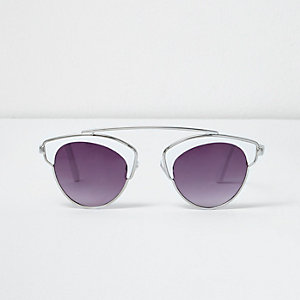 Girls white brow bar sunglasses