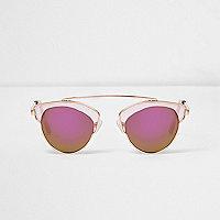Pinke Sonnenbrille mit transparentem Gestell