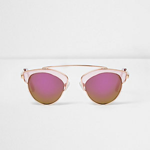 Girls pink transparent frame sunglasses