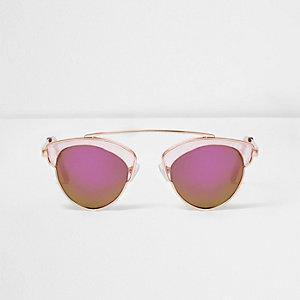 Girls pink transparent frame sunglasses