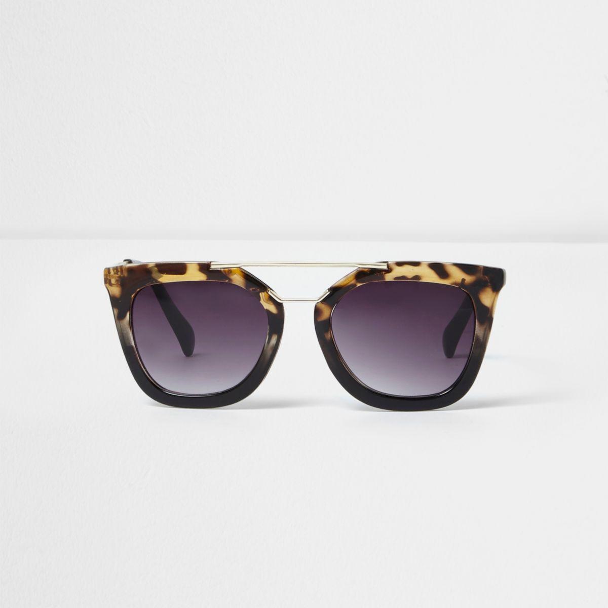 Lunettes de soleil papillon écaille de tortue noires fille