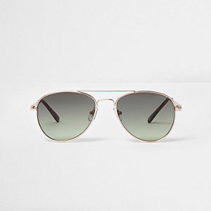 Girls gold tone khaki lens aviator sunglasses