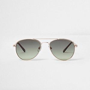 Girls gold tone khaki lens aviator sunglasses