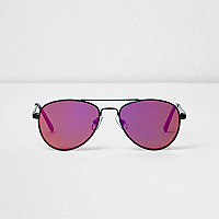 Girls black sunset lens aviator sunglasses