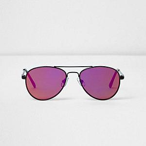 Zwarte pilotenzonnebril met zonsondergangglazen voor meisjes