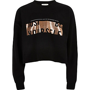 Girls black 'Be Yourself' print sweatshirt
