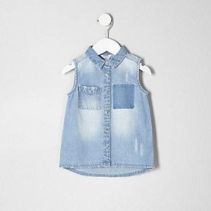Mini girls blue distressed sleeveless shirt