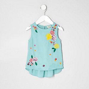 Mini girls green floral peplum top