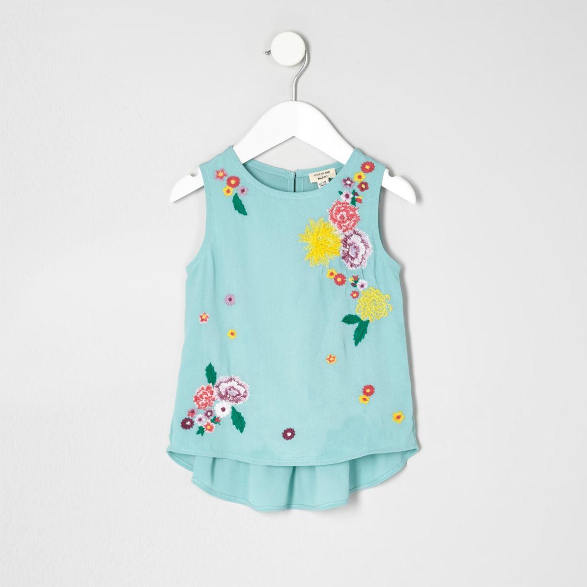 Mini girls green floral peplum top