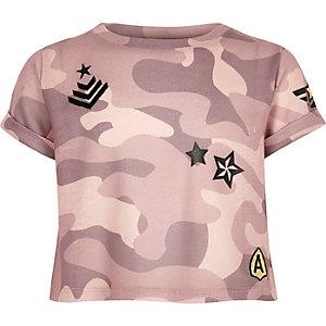 Roze crop top met camouflageprint en embleem voor meisjes