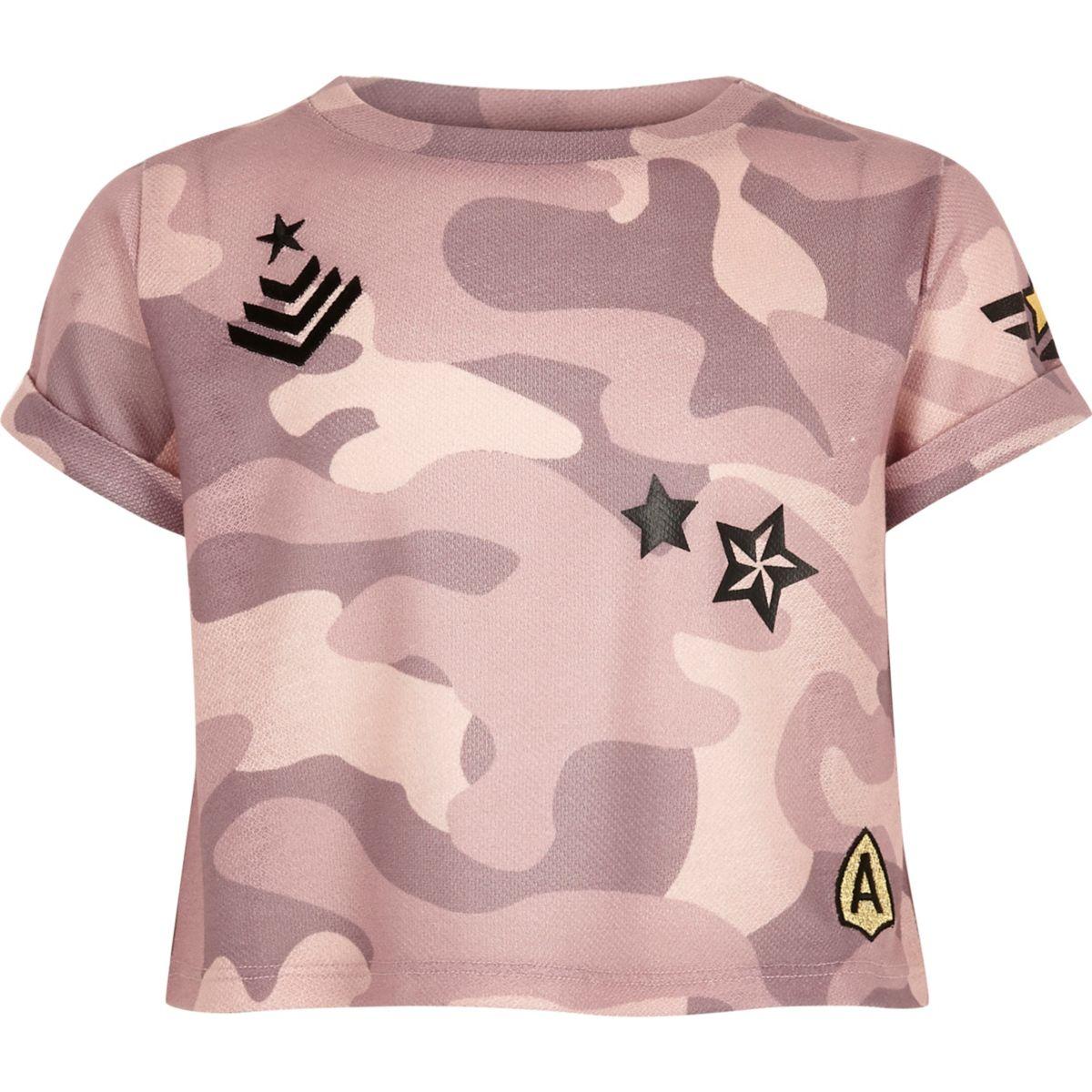 Girls pink camo badge crop top