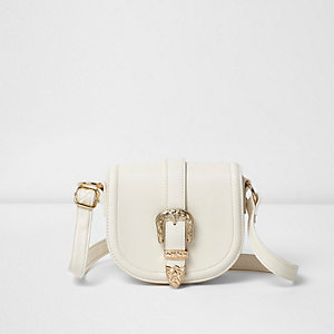 Girls white western buckle cross body bag